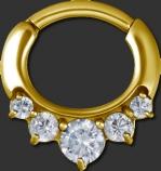 Gold Stahl Septum Clicker mit Svarowski Steinen
